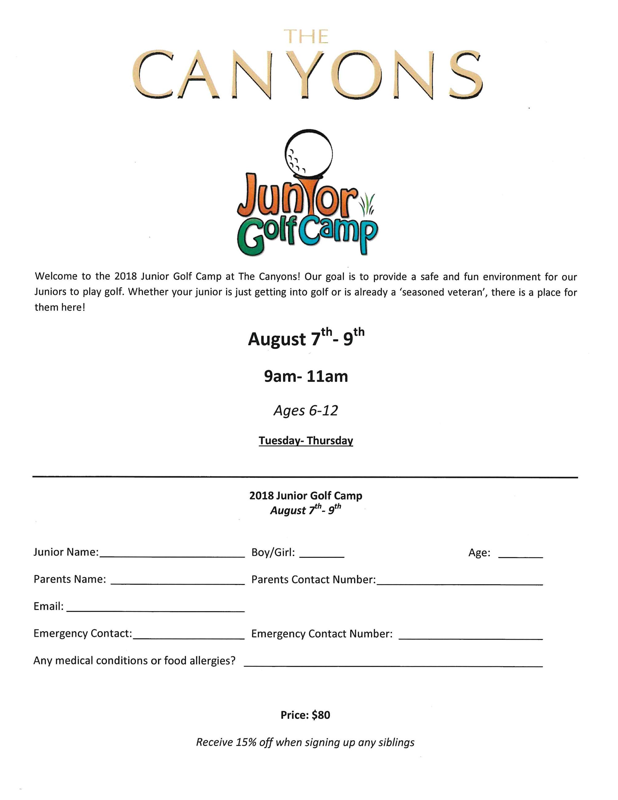 Junior Golf Camp flyer